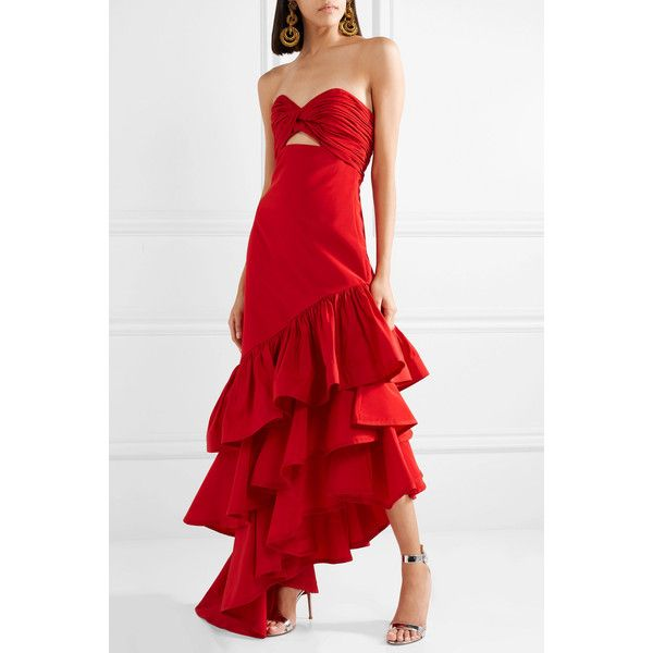 Johanna Ortiz Spicy Margarita ruffled silk-faille gown (4 510 AUD) ❤ liked on Polyvore featuring dresses, gowns, cut out gown, ruffle dress, red evening gowns, red silk evening gown and red gown