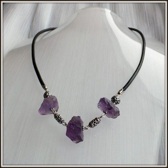 OOAK Natural Raw Amethyst gemstones Blackened by LucilleParenteau