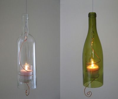 recycled wine bottle candle-- idea for how to use a cut glass bottle (no tutorial for this, but has a video describing a way to cut a glass bottle perfectly by scoring the glass, pouring small amounts of very hot water over the line, then following with small amounts of cold water) BEST CUT GLASS VIDEO! but skip ahead, he talks a lot