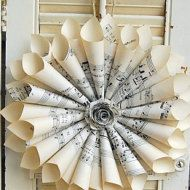 Book Page Wreath French Farmhouse Paper Rose New por roseflower48
