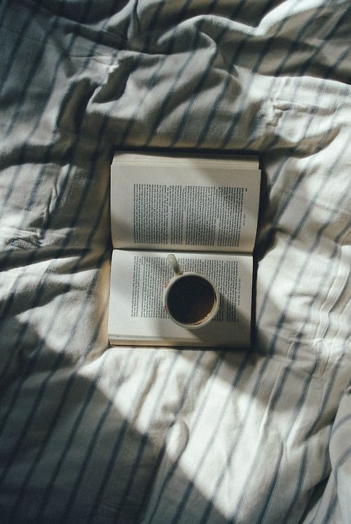 Now this is a bizarre amalgamation of the holy and the profane. Tea, books, and bed are the quintessence of so much that is good in the world, but WE DON'T USE BOOKS AS COASTERS OR SAUCERS!