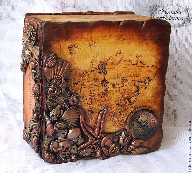 """Купить Пиратская шкатулка-книга """"Остров сокровищ"""" - оранжевый, пират, пираты карибского моря"""