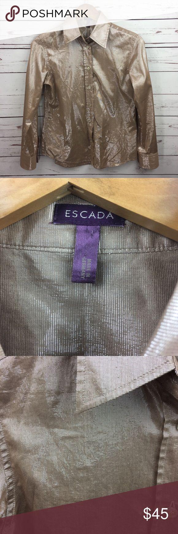 "Escada Gold Metallic Shimmer Button Down Blouse Escada women's gold button down long sleeve shirt. Metallic, and shimmery. Size 36. Cotton.  Underarm to Underarm: 18""  Top shoulder to bottom: 23.5""  3WLS10171250 Escada Tops Button Down Shirts"