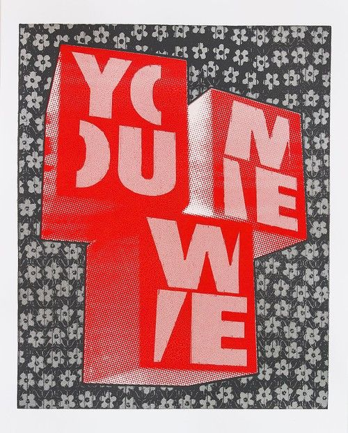 "#LifeOnWall #PapeBoxGallery ""You Me We Red"" (original). Unique high quality art piece (only one). Handmade silkscreen and paint. Paper 300 g Gallerie Art Silk. Size 25,98 x 18,11 Inch (66 x 46 cm). 168 USD"