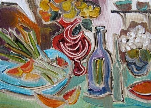 """Dinner Party"" Original Fine Art for Sale - © Kristin Gibson http://www.fineartandfabric.com"