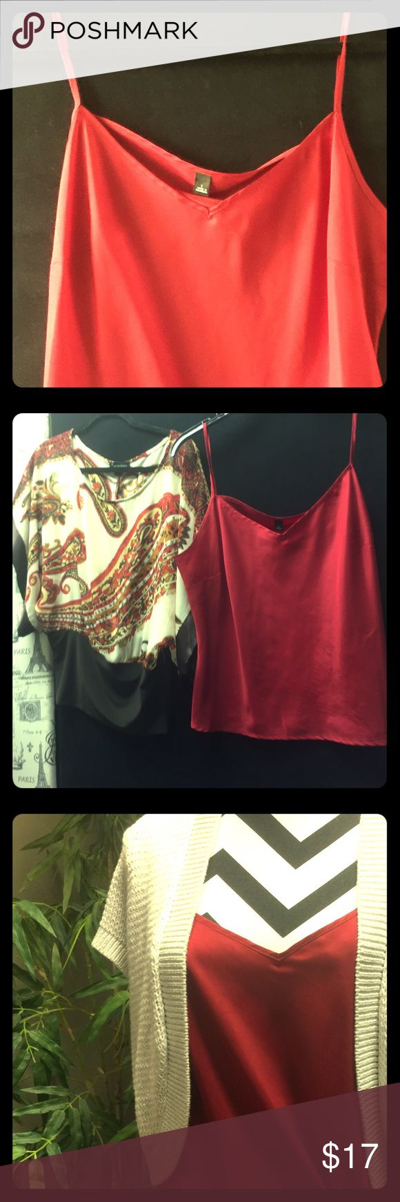 RED CAMI FOR UNDER SHEER ITEMS OR TEES LARGE SIZE LOOKS GREAT MUST HAVE STAPLE FITS MEDIUM-LARGE Tops Camisoles