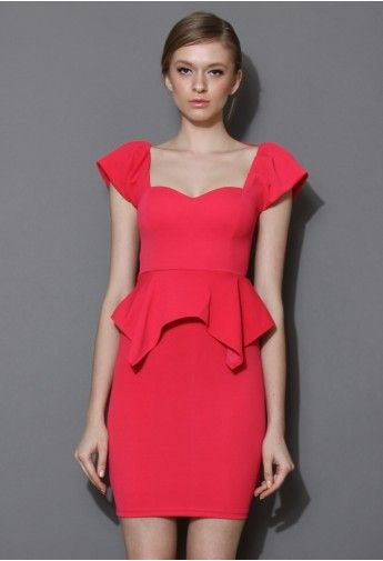 Hot-pink Peplum Prom Dress