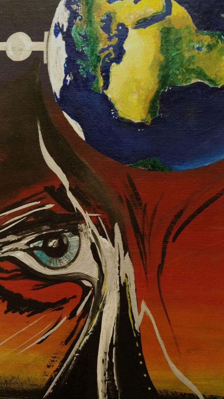Ojo al mundo… (Fragmento) (Acrílico sobre cartón) Una pintura de advertencia por Celica G. Di Ronco.