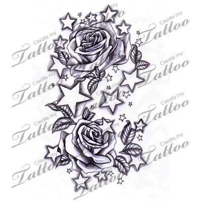 Marketplace Tattoo Stars and Roses #12338 | CreateMyTattoo.com