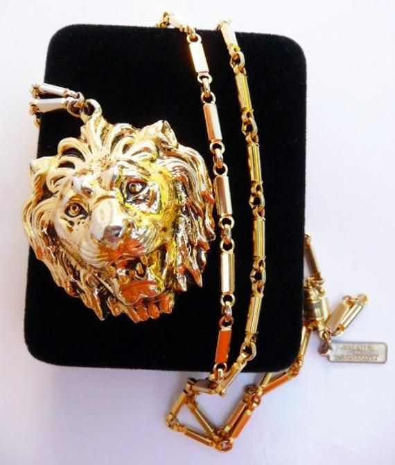 abaa4cde0199d vintage Anne Klein for Accessocraft lion head necklace, roaring gold ...