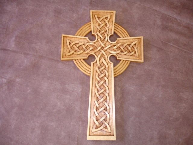 One of a kind hand carved wood celtic cross gives