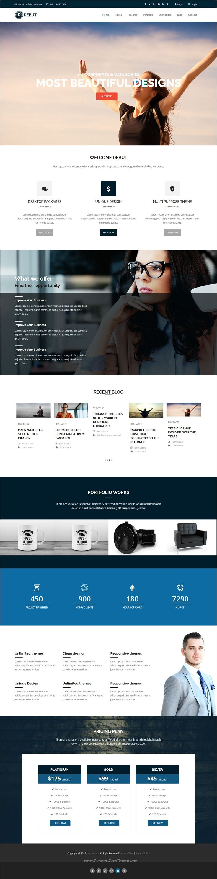 Debut is a modern and professional responsive #Joomla template for company, #business, blog and #portfolio website with 11+ multipurpose homepage layouts download now➩ https://themeforest.net/item/debut-the-multipurpose-responsive-joomla-theme/19077114?ref=Datasata