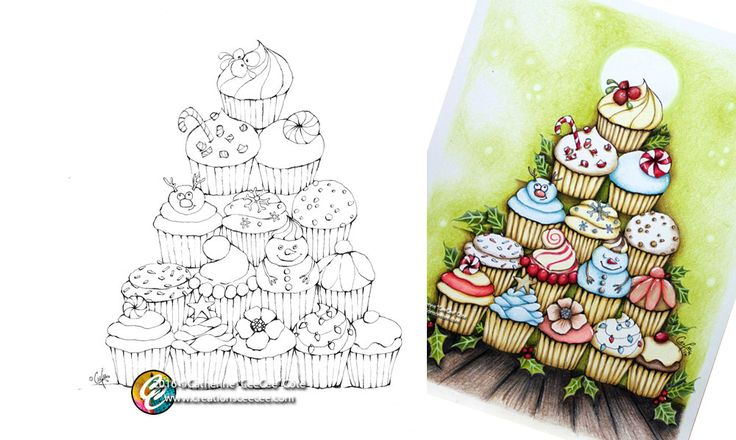printable coloring page : cupcake christmas tree printable by creationsCeeCee on Etsy