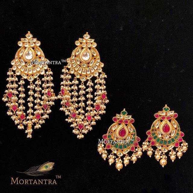 Still cant decide which one is prettier !  Neutral with a pop of color or color with the pop of pearls  Either ways have to have one of them in your jewellery treasure  #mortantra #mortantrajewellery #chandbalis #kundanjewellery