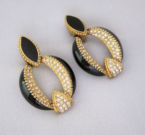 Designer Signed CINER Rhinestone Earrings Vintage by ...