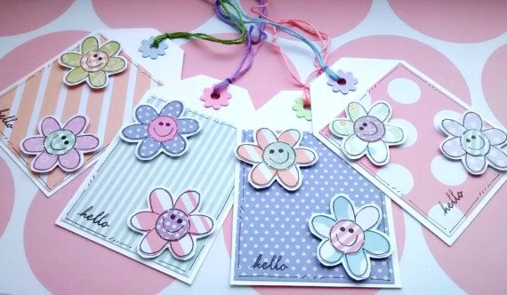 Spring Flower Gift Tags  Set of Four by CraftyMushroomCards