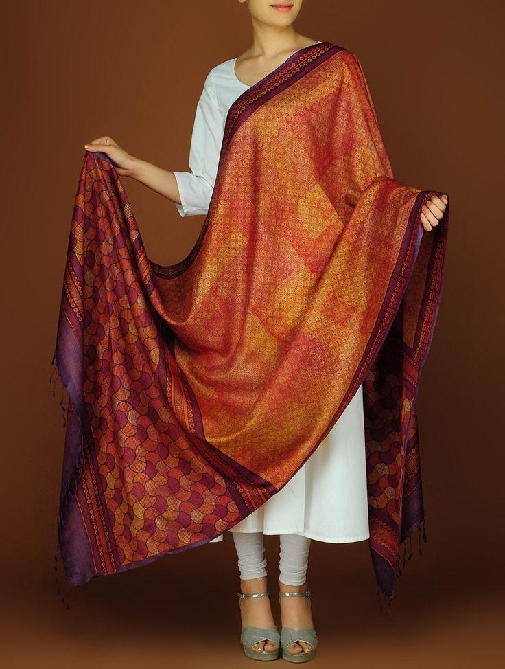 Buy Burgundy Rust Orange Silk Block Printed Dupatta Accessories Dupattas A Class Apart Colorful Sarees and Online at Jaypore.com
