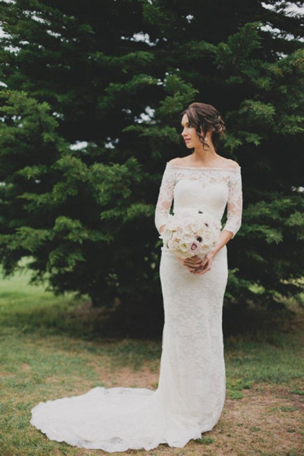 Pretty With Sleeves Bridal Gown Sleeved Dress Lace Beautiful Wedding Party