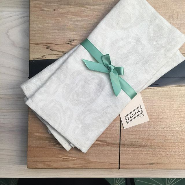 How GORGEOUS are these custom printed Linen napkins for @DesignersCollective for the kitchen??! | Featuring the Rose print, custom screenprint on 100% Linen | Visit www.jouedesign.com to contact | original artwork | watercolor | painting | textile print | fabric | linen | napkin | floral flower rose