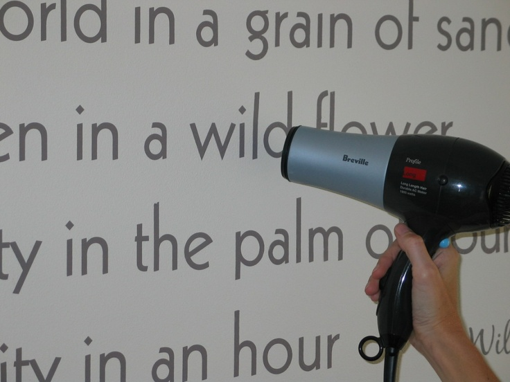 Using a hair dryer to heat the vinyl lettering will assist in the vinyl conforming to the textured surfaces.: Hair Dryer