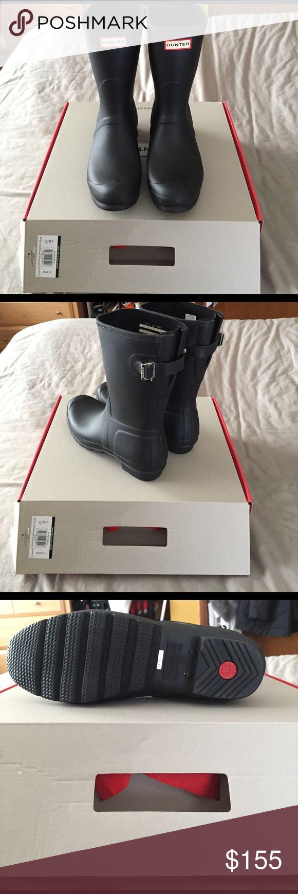 Short Hunter Rain Boots Brand new, never worn! Matte black, short Hunter rain boots Hunter Boots Shoes Winter & Rain Boots