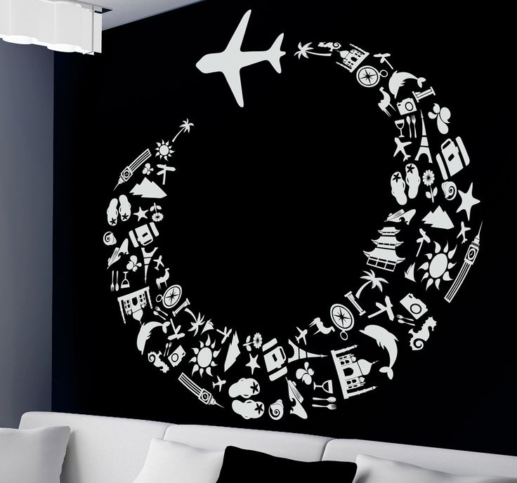 A creative plane wall sticker illustrating a journey around the world! Brilliant travel decal to decorate your living room. You can now decorate any space at home and show everyone that you love to travel!   #travel #stickers