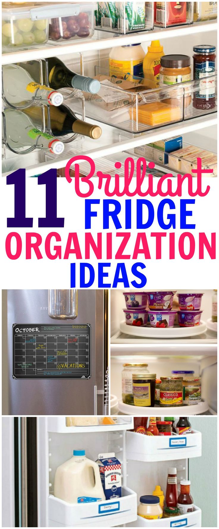 Fridge organization hacks and ideas that will help with storage and and keeping your fridge clean and uniformed.
