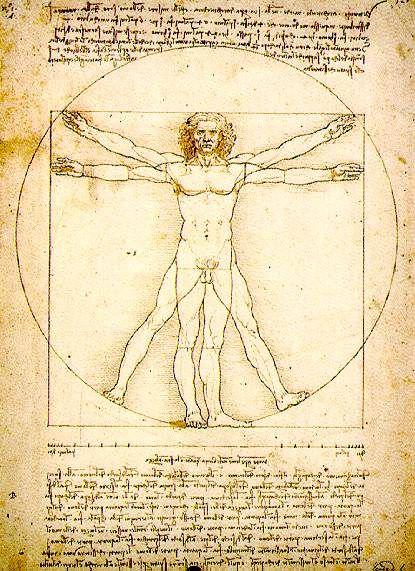 L'homme de Vitruve, le nombre d'or dans les proportions du corps humain