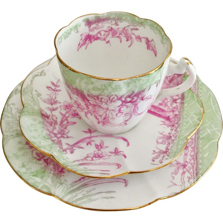 Antique Charles Wileman teacup trio, Kensington patt 5029 on Lily from gentle-rattle-of-china on Ruby Lane