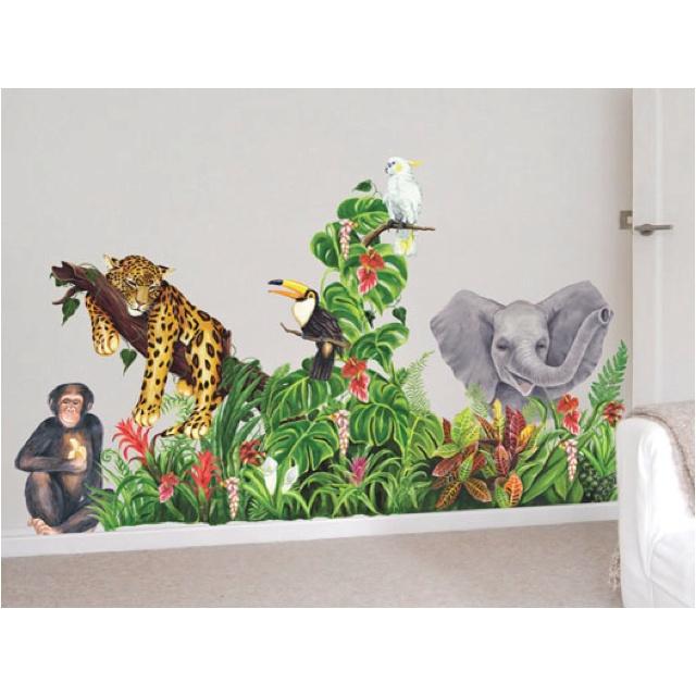 Wild Animal wall mural for my boys room.