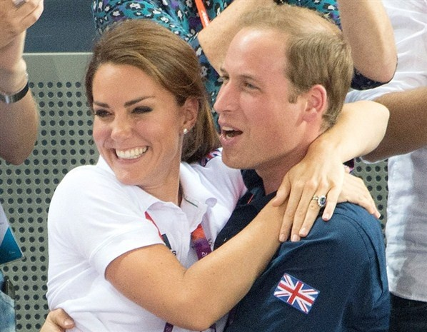 The royal family continued to bring good fortune to Britain's Olympic hopefuls when they watched Philip Hindes, Jason Kenny and Sir Chris Hoy win gold in the men's team sprint. The Duke and Duchess of Cambridge hugged for joy when Britain's first place was confirmed.  NIVIERE/CHAMUSSY/SIPA/Rex Features (© NIVIERE/CHAMUSSY/SIPA/Rex Features
