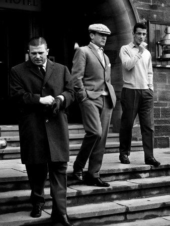 Real Madrid Legends Ference Puskas and Alfredo Di Stefano Leave Their Hotel in Glasgow