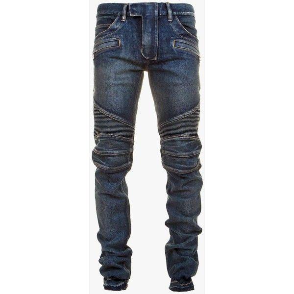 Balmain Regular-fit stretch-cotton denim biker jeans (8,780 EGP) ❤ liked on Polyvore featuring men's fashion, men's clothing, men's jeans, mens denim jeans, men's regular fit jeans and balmain men's jeans