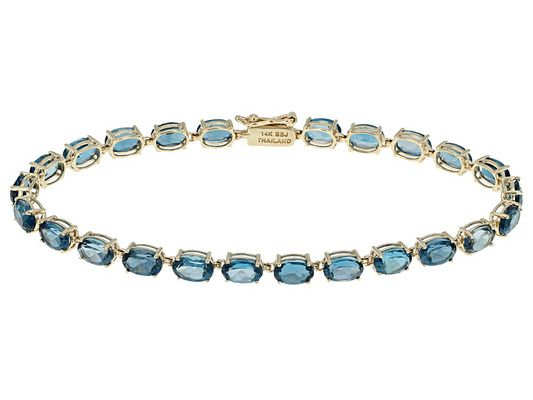 11.91ctw Oval London Blue Topaz 14k Yellow Gold Tennis Bracelet
