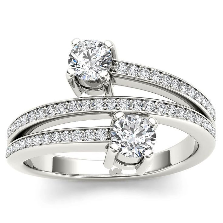 De Couer 14k White Gold 1/2ct TDW Diamond Two-Stone Ring