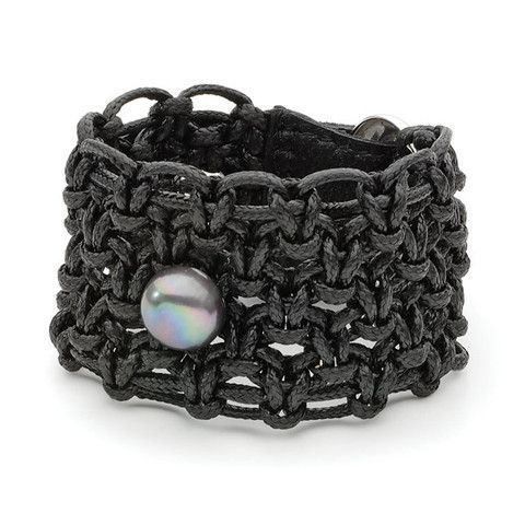 Dyed Black Freshwater Pearl 13mm button black wax thread braclet with rhoduim Plated Copper clasp 18/19cm