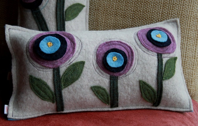 3 Flowers Felted Pillow from Recycled Sweaters