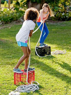 Loving this idea for tug-o-war :) This is a fun game for the kids and adults! Grab a large rope and play this game on an open grass field so that more people can play on each team.