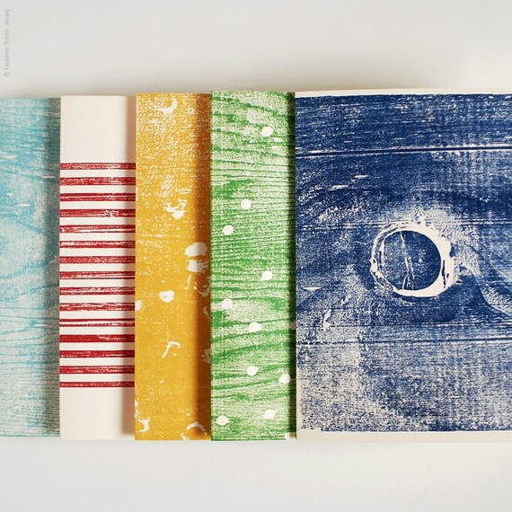 handprinted wood block cards by Heather Smith Jones - I wonder if I could figure out how to do this on my own, though.