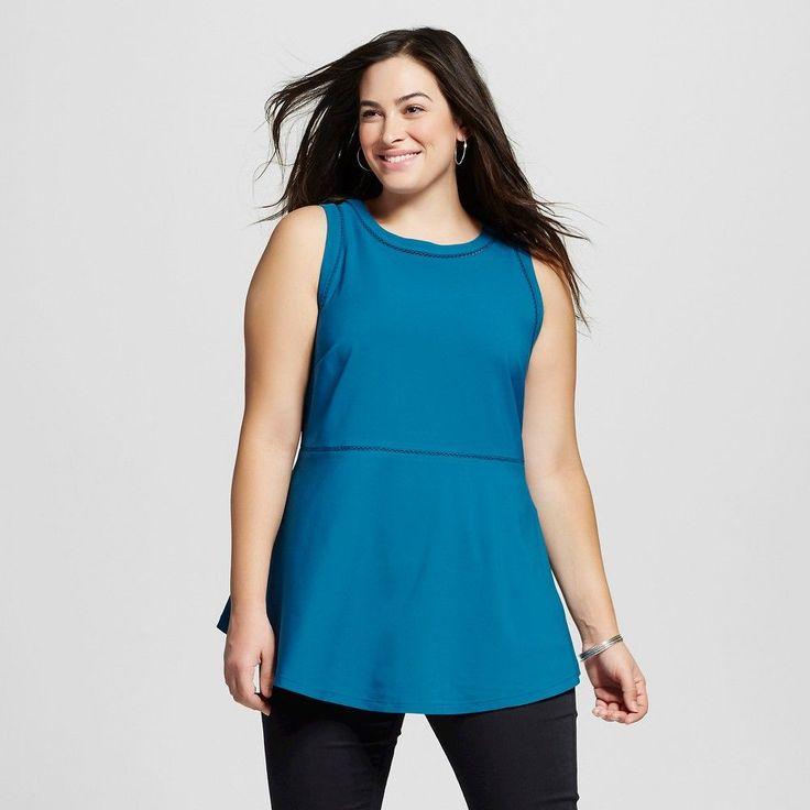 Women's Plus Size Peplum Tank Dynamic Blue 2X - Ava & Viv