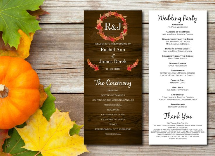 A Personal Favorite From My Etsy Shop Fall Wedding ProgramsDiy