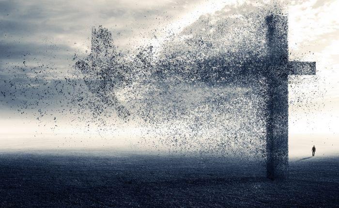Обои на рабочий стол Рендеринг:Человек, Крест, Птица, Разрушение, Пустошь, Осколки - скачать бесплатно. | Обои-на-стол.com