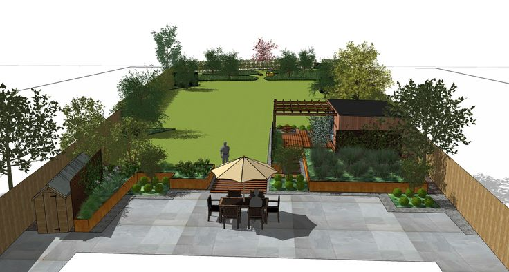 Sketchup design for garden in Hassocks, Sussex, designed by Green Rooms Landscapes & Gardens