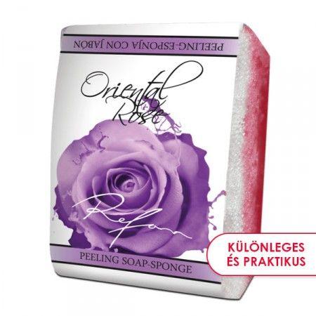 Keleti Rózsa szivacsos szappan - 2 az 1-ben bőrfeszesítő szivacsos szappan a titokzatos keleti rózsavirág illatával. Gyengéd bőrradírozó és feszesítő hatású. Mindennapi használata megelőzi a narancsbőr kialakulását, serkenti a vérkeringést. ©Refantázia