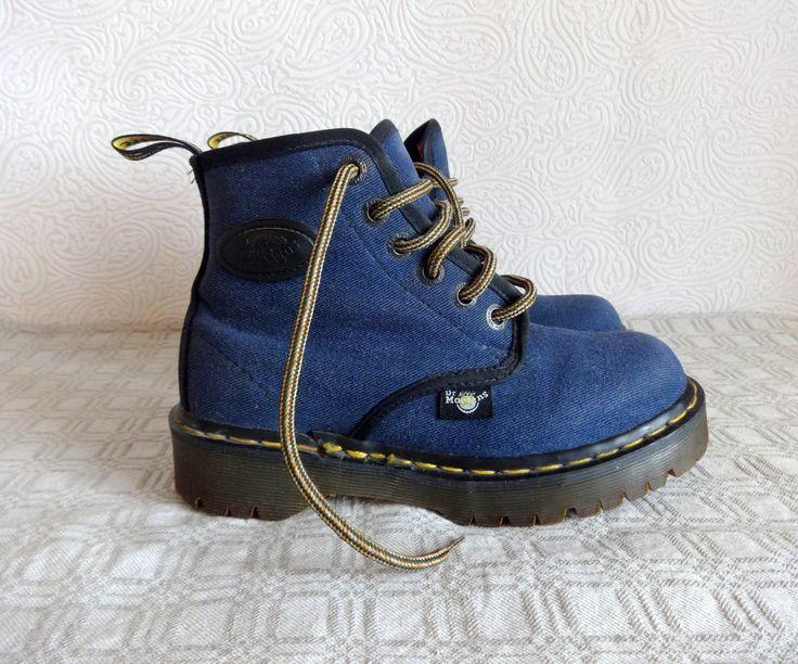 Dr Marten Lace Up Denim Boots Blue Denim Ankle Boots Grunge Hiking Boots UK 4 US 6 EUR 37.5 Platform Booties Hipster Boots Doc Marten by Vintageby2sisters on Etsy