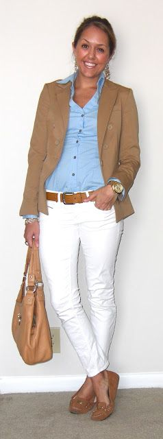 .khaki jacket, blue shirt and white pants