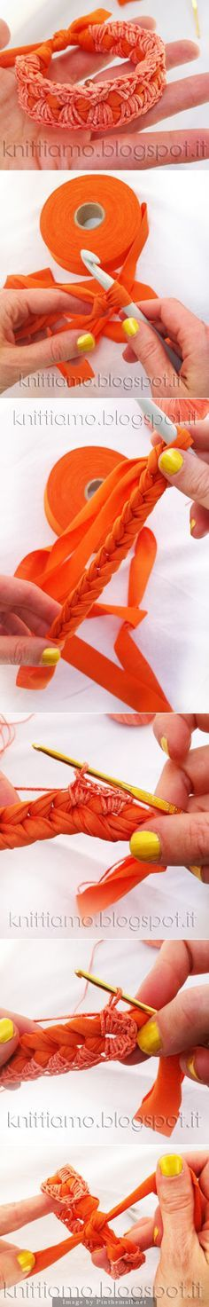 "#Crochet #Tutorial ""DIY bracelet made from fabric chain covered with crochet thread and tied. Great idea with many possible variations."" comment via #KnittingGuru http://www.pinterest.com/KnittingGuru"