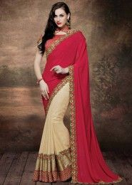 Wedding Wear Red Crepe Embroidered Work Saree