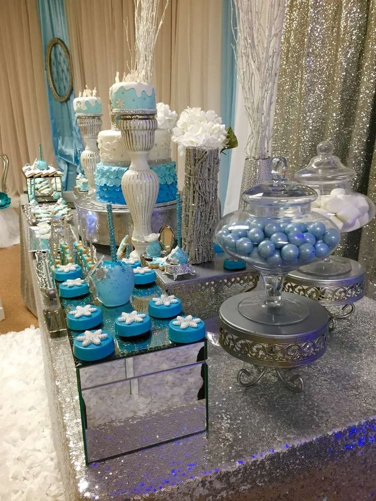 Icy blue treats at a winter wonderland birthday party! See more party ideas at CatchMyParty.com!