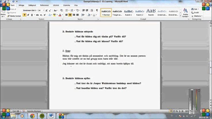 Exempel 1: Bildanalys med betyg E